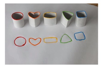 Make shapes out of paper towel or toilet paper rolls