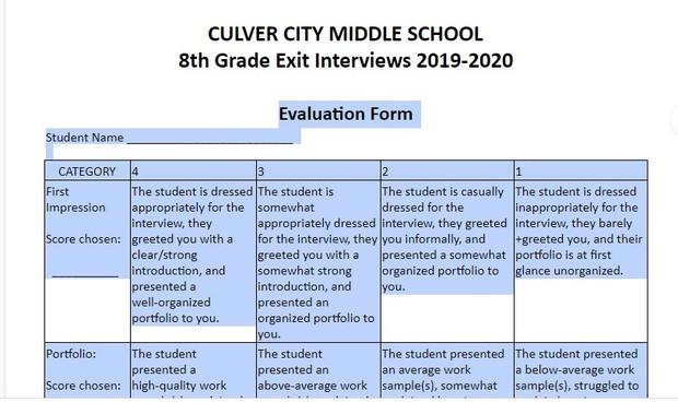 8th grade exit interviews