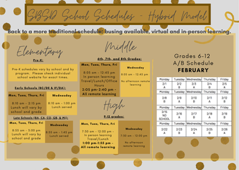 SBSD SCHOOL SCHEDULES - PHASE 3 HYBRID MODEL  - EFFECTIVE FEBRUARY 1, 2021