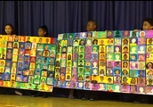 Students proudly shared the Lower Mills Unity Quilt at Prayer Service this week!