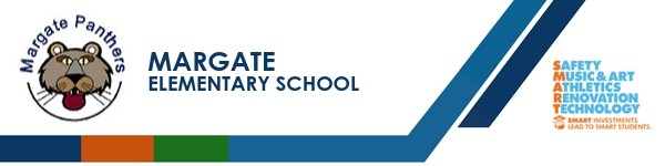 A graphic banner that shows Margate Elementary School's name and SMART logo