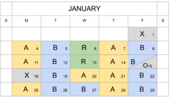 Check the New Hybrid In-Person Calendar