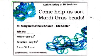 Help the Autism Society of SWLA Sort Mardi Gras Beads this Weekend!
