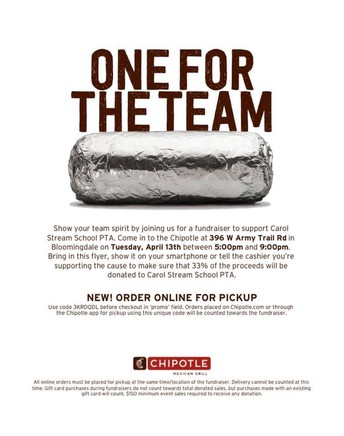 PTA: Dine out for $ @ CHIPOTLE
