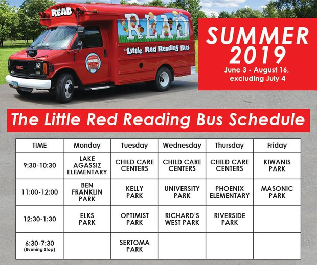 Summer 2019 Little Red Reading Bus schedule