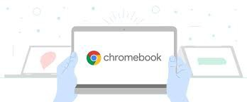 Image of a person holding a Chromebook