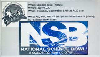 Science Bowl Try Outs Sponsor BAM & Mr. Shank