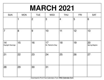 March Calendar image