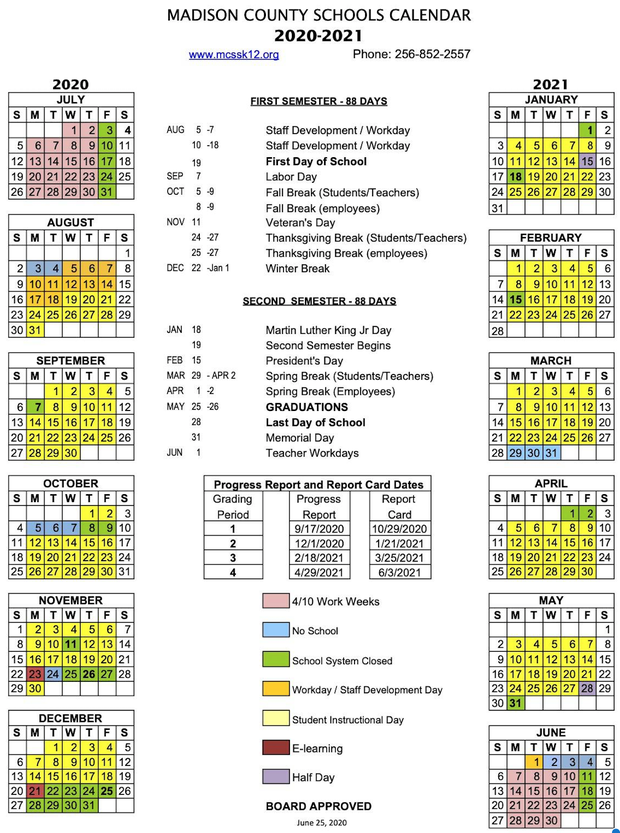 Madison County Calendar for 2020-2021