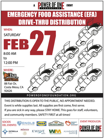 Food distribution flyer for February 27 at Orange County Fairgrounds
