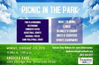 Picnic at Andulka Park - Riverside February 4th