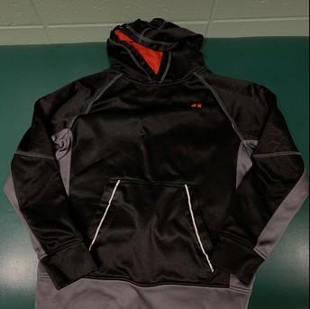 Blacka nd red boys hooded sweatshirt, size 10/12