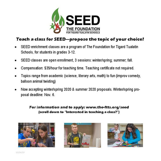 Teach a class for SEED - propose the topic of your choice!