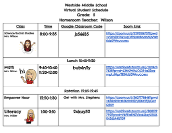 5th Grade Virtual Student Schedules
