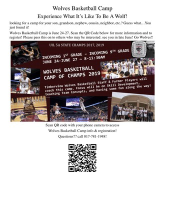 Timberview Wolves Basketball Camp