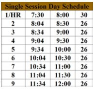 Single Session Schedule