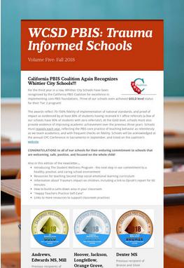 2018 Fall Newsletter:  Trauma Informed Schools