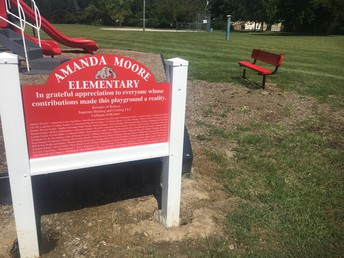 Playground Initiative Sponsor Sign & New Bench