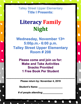 Title I Presents: Literacy Family Night