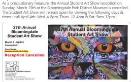 Student Art Show Reception Canceled