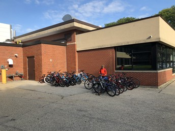 So Many Students Riding Bicycles to School!