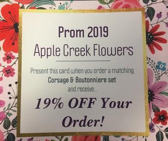 Prom Photo COUPON: Apple Creek Flowers in Woodstock