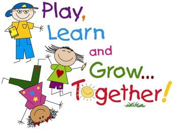 Stick figure children in primary colors