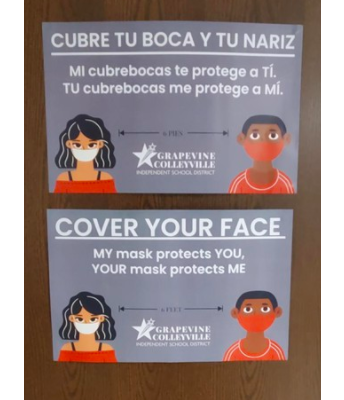 Mask reminders located throughout the building