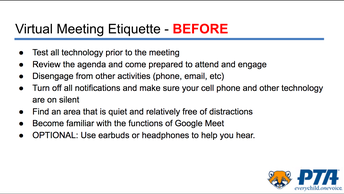 Virtual Meeting Etiquette - Before
