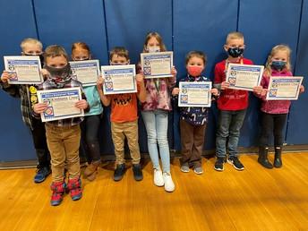 Grades K-2 January Kindness Award Recipients