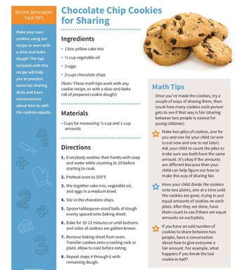 Chocolate Chip Cookies for Sharing Family Math Activity