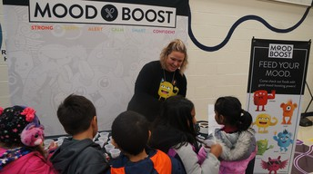 Evol at VO Mood Boost with students