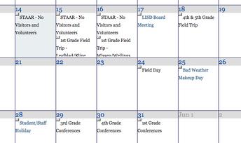 May Campus Calendar