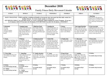 December Family Movement Calendar