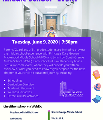 "Virtual ""Welcome to Middle School"" Event -"