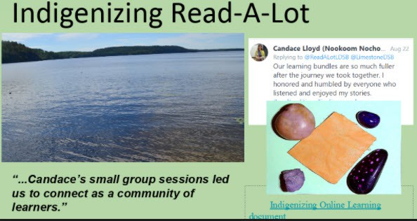 Image of a lake and items used for Indigenous online learning.