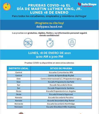 Covid Testing on Monday - Spanish