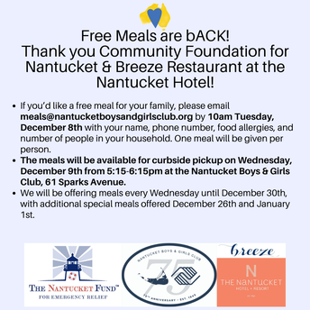 Nantucket Boys and Girls Club - to do Wednesday Meals again!