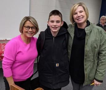 CMS teacher Mrs. Suzanne Whiteman, 2020 District Spelling Champ Cash Johnson and CMS teacher Mrs. Carrie Maronde