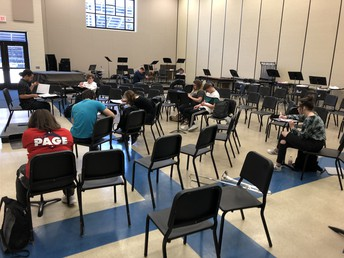 AP Music Theory students work on exam