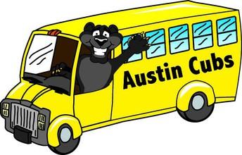 Austin Cub driving yellow school bus.