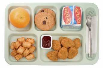 School lunch tray with orange, cookies, milk, tater tots, chicken nuggets, barbecue sauce and utensils