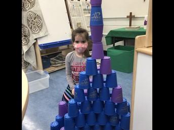 Building with cups in Kindergarten!
