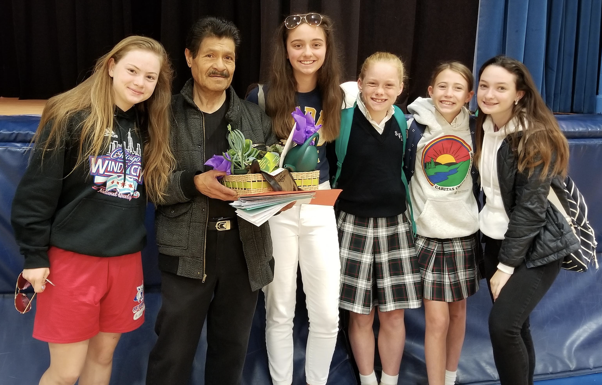 Student Council present Ramiro with a parting gift!  Thank you! Enjoy your time in the sum and grow an amazing garden.