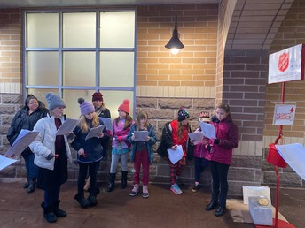 Students council at Blue Goose ringing bells for Salvation Army