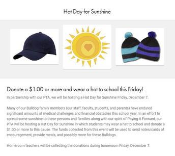 Hat Day for Sunshine for Family Hardships