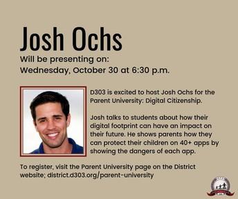 Presentación por Josh Ochs el miércoles, 30 de octubre a las 6:30 p.m