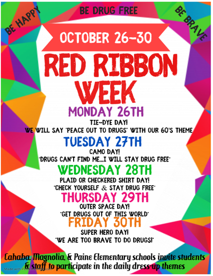 Red Ribbon Week Schedule - details in paragraph below