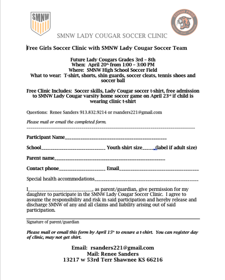 Click Here to Download the Soccer Clinic Registration Form