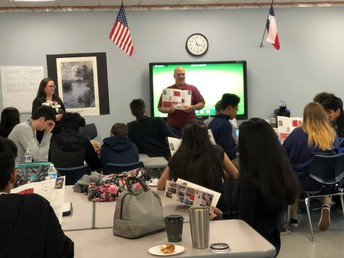 Chris Johnson, Founder and Owner of Frisco Style Magazine, spoke to Mrs. Crank's 11th grade students about writing principles and the magazine publishing business.